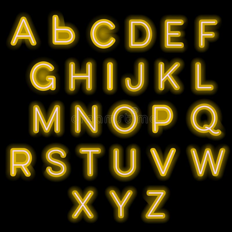 Alphabet au néon illustration de vecteur