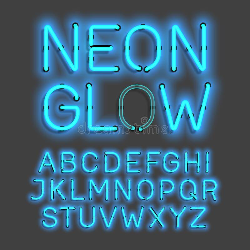 Alphabet au néon de lueur illustration stock