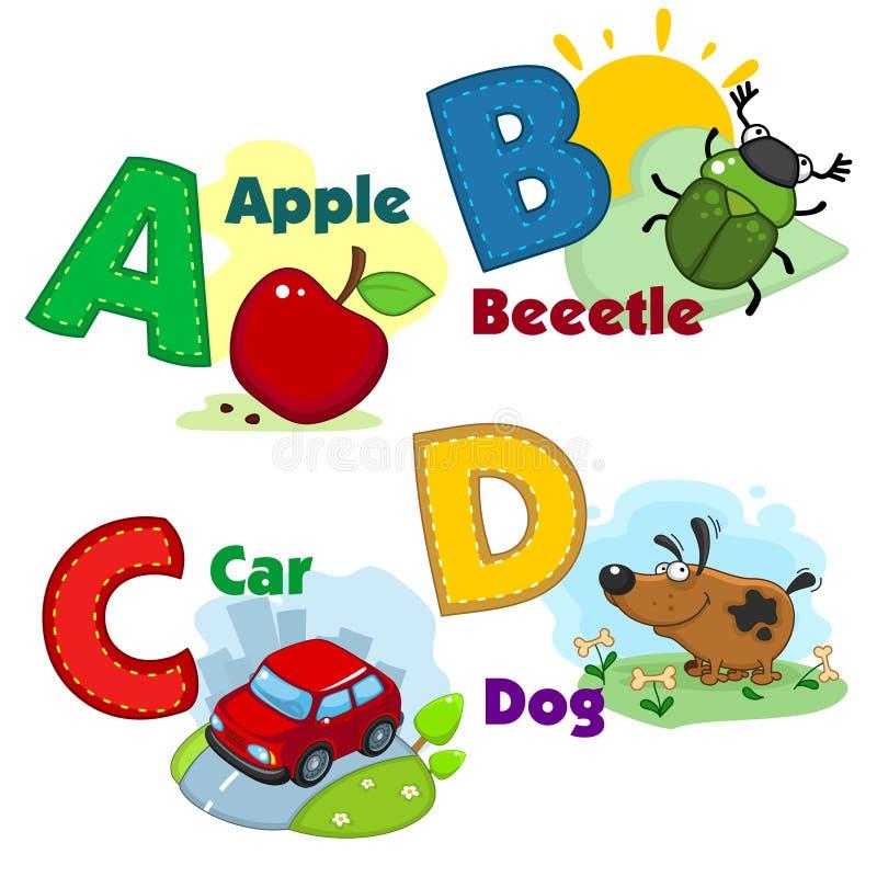 Alphabet avec des lettres et des photos à elles illustration stock