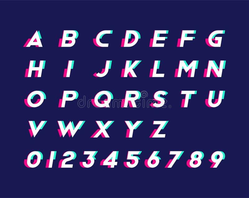 Alphabet avec des nombres et l'effet à la mode de problème Illustration plate ENV 10 illustration de vecteur