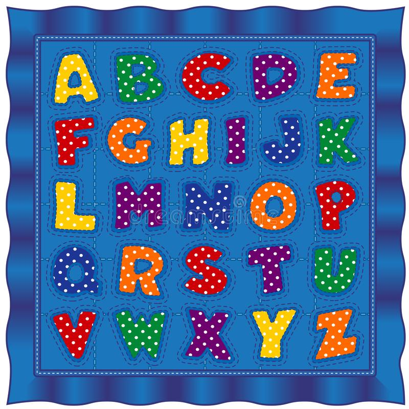 Alphabet Baby Quilt, Bright Polka Dot Letters, Blue Satin Border royalty free illustration