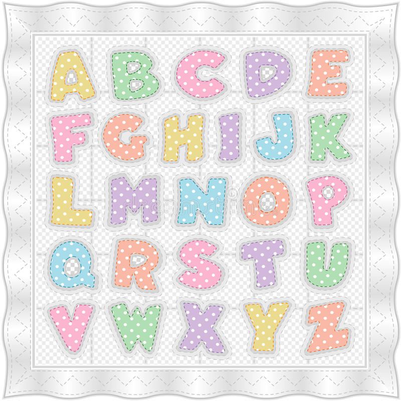 Alphabet Baby Quilt, White Pastels. Vintage ABC alphabet quilt pattern in pink, blue, green, yellow, coral and lavender pastel polka dot letters on a white stock illustration