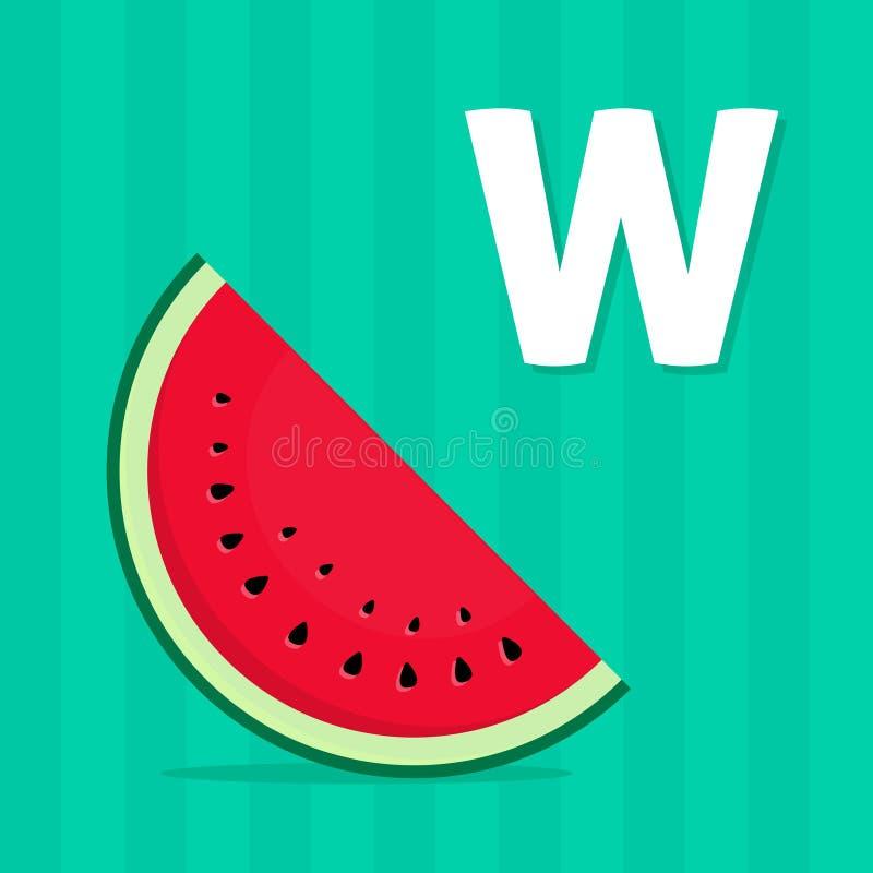 Alphabet beschriftet das Lernen der Karte mit Buchstaben W für Kinder vektor abbildung