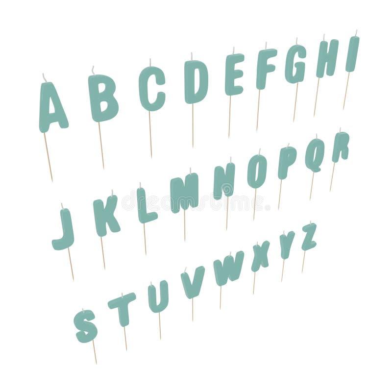 Alphabet Birthday Candles Set on white. 3D illustration stock illustration