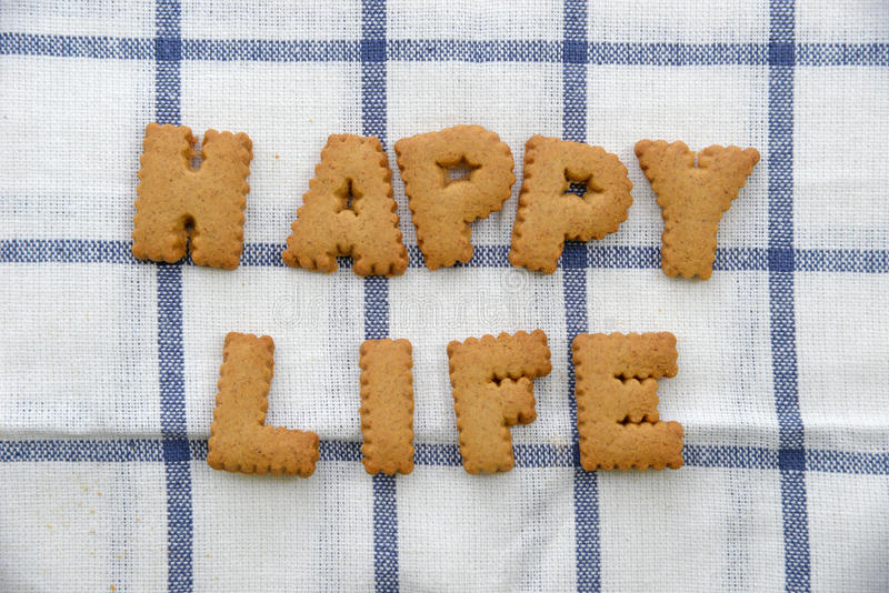 Alphabet Biscuits ,word happy life.  stock photo