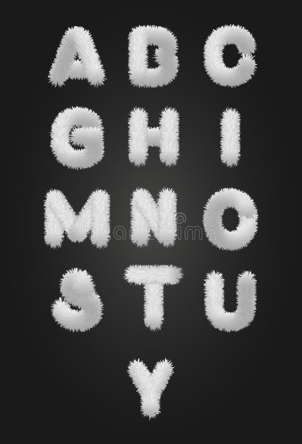 Alphabet blanc mignon de fourrure illustration de vecteur