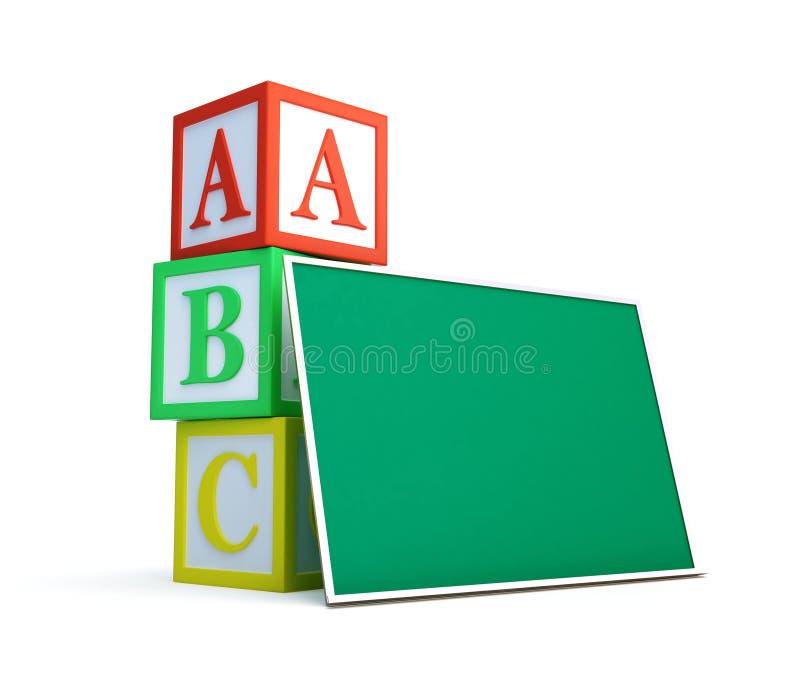Alphabet Blocks And Blackboard Stock Image