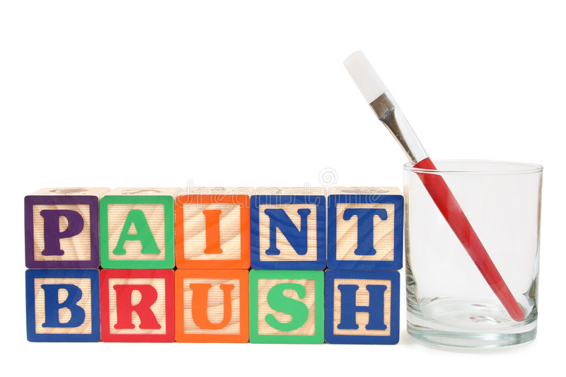 Download Alphabet Blocks And Paint Brush  In A Glass Stock Image - Image: 94881