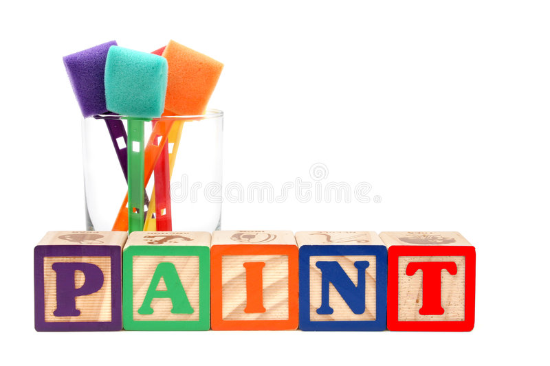 Download Alphabet Blocks And Paint Sponges In A Glass Royalty Free Stock Photos - Image: 94798