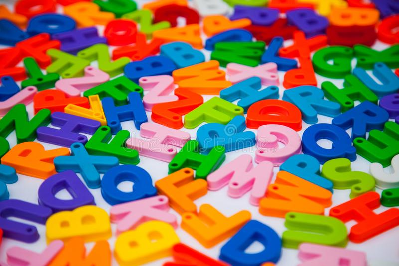 Alphabet blocks placed randomly. Letters language enhlish learn learning teach teaching english school class thanks written words stock images