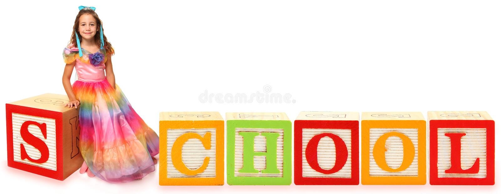 Alphabet Blocks School with Girl royalty free stock photo