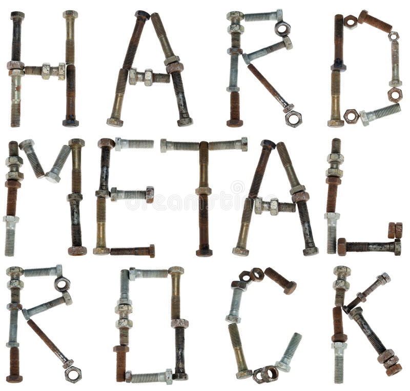 Alphabet from bolts part one. Hard metal rock words is made from rusted bolts and nuts. Isolated alphabet concept part one stock images