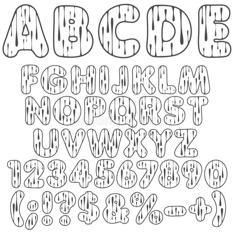 Alphabet, Buchstaben, Zahlen und Zeichen mit Tropfen Lokalisierte Vektorgegenstände lizenzfreie abbildung