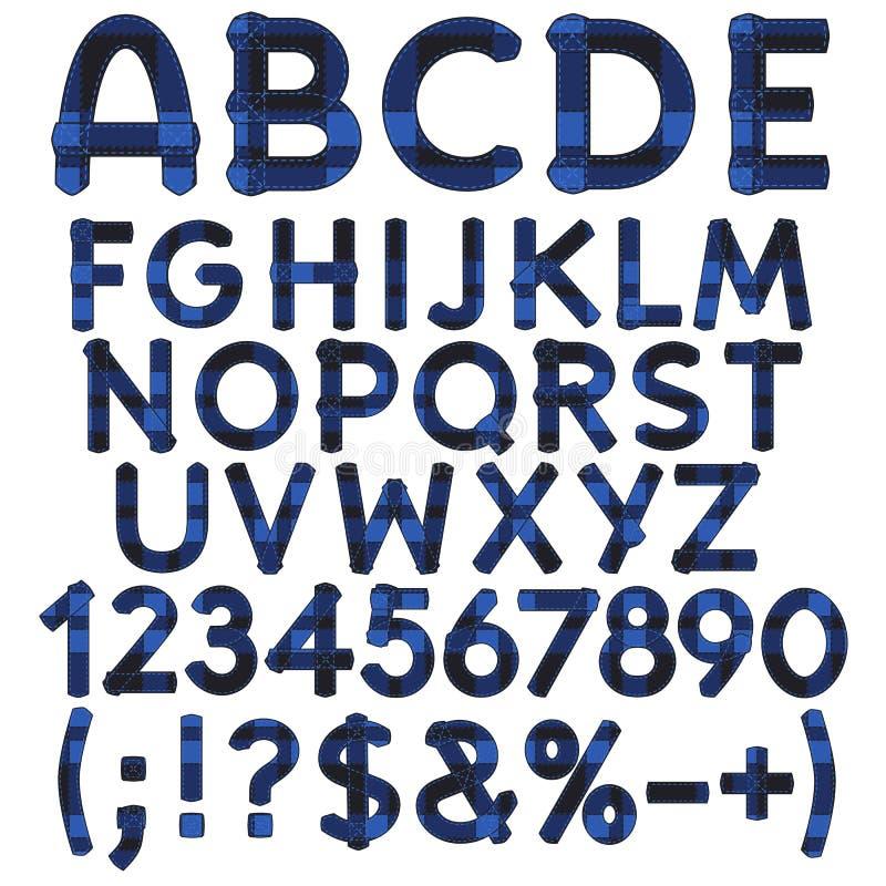 Alphabet, Buchstaben, Zahlen und Zeichen vom blauen Stoffschottenstoff Lokalisierte Vektorgegenstände lizenzfreie abbildung