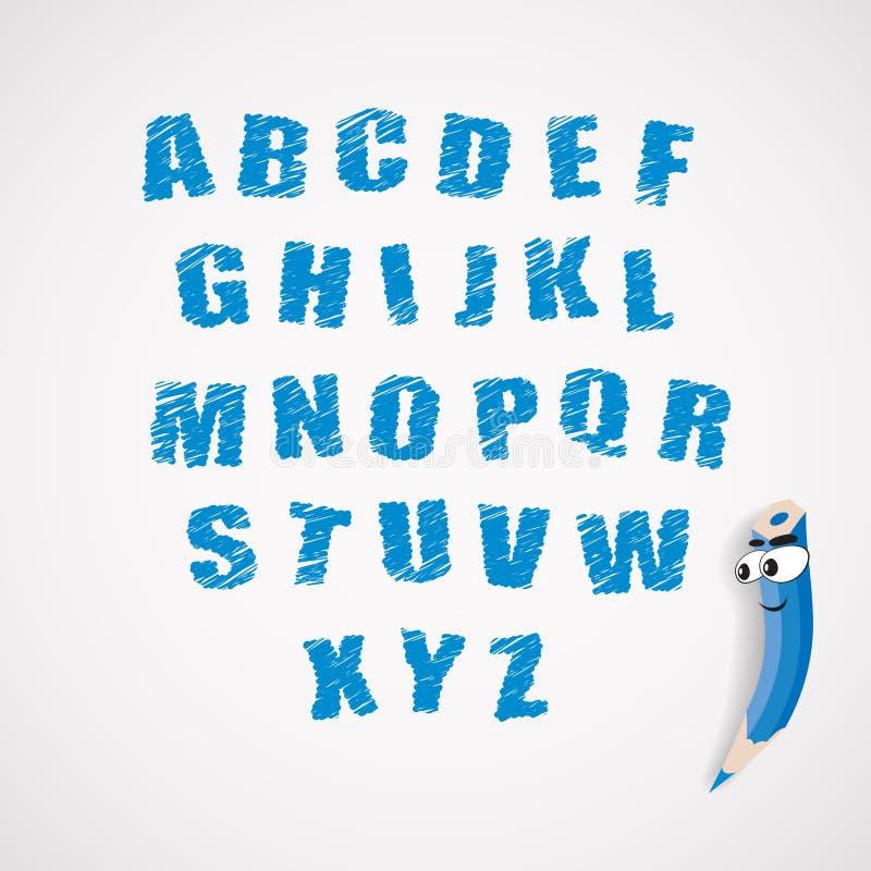 Alphabet And Cartoon Crayon Royalty Free Stock Photos
