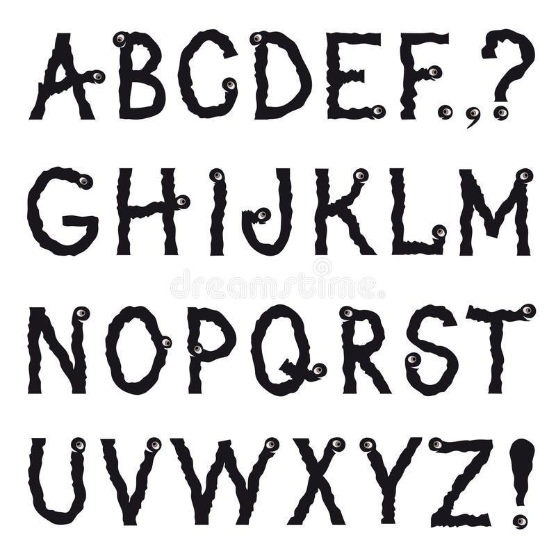 Line Art Font : Alphabet cartoon fictional animal shakily crawling line