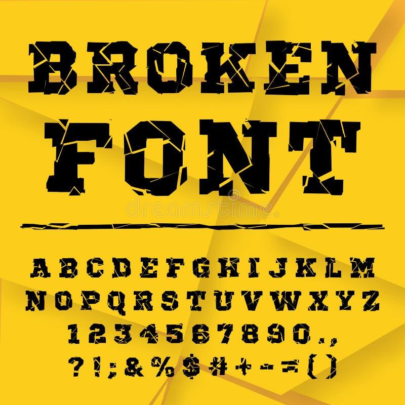 Alphabet cassé Ensemble complet illustration de vecteur