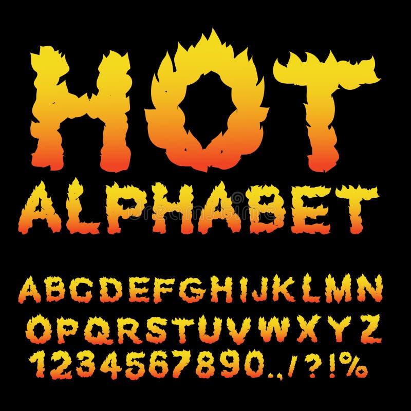 Alphabet chaud Police de flamme Lettres ardentes ABC brûlant Typog du feu illustration libre de droits