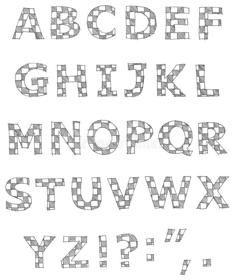 Alphabet checkered écrit par main illustration libre de droits