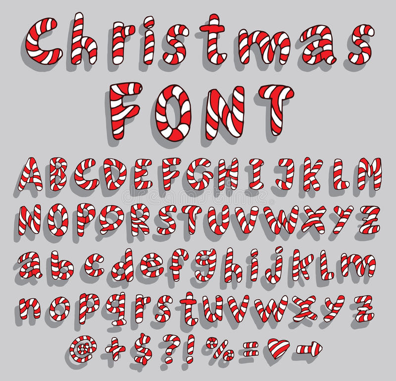 Alphabet with christmas candy cane font royalty free illustration