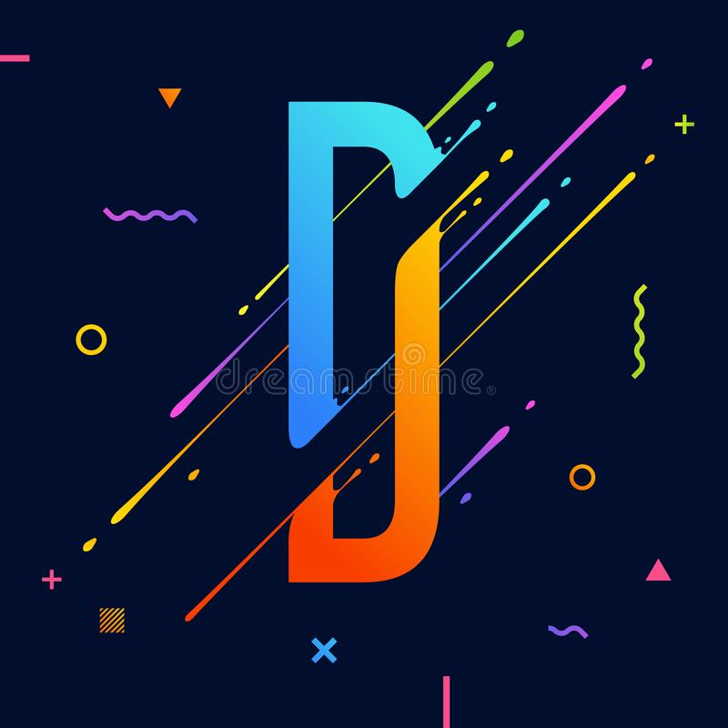 Alphabet coloré abstrait moderne avec la conception minimale Lettre D Fond abstrait avec les éléments géométriques lumineux frais illustration libre de droits