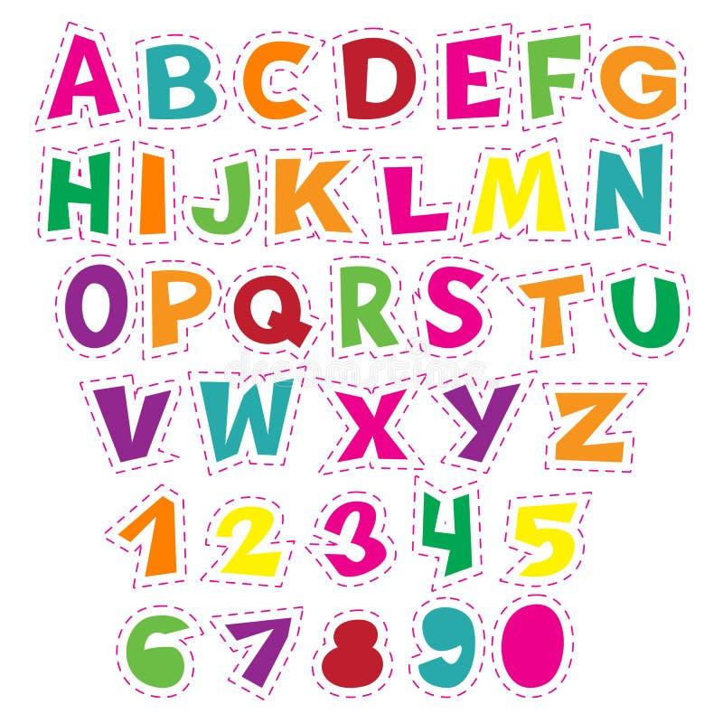Alphabet coloré de bande dessinée pour des enfants Collection éducative de vecteur de lettres et de nombres illustration stock