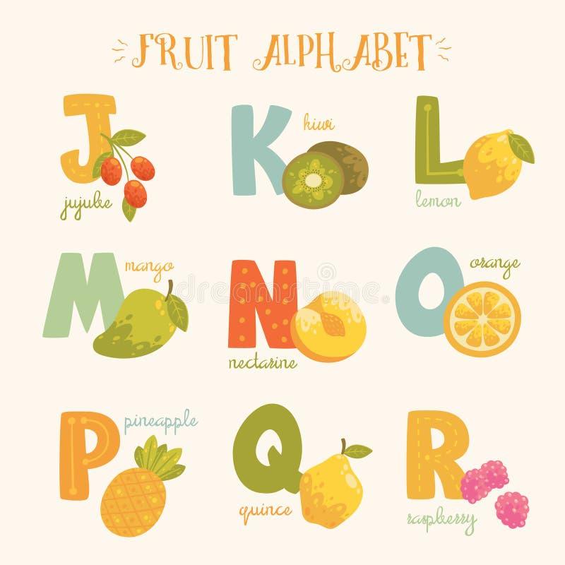 Alphabet coloré de fruit de vecteur photo libre de droits