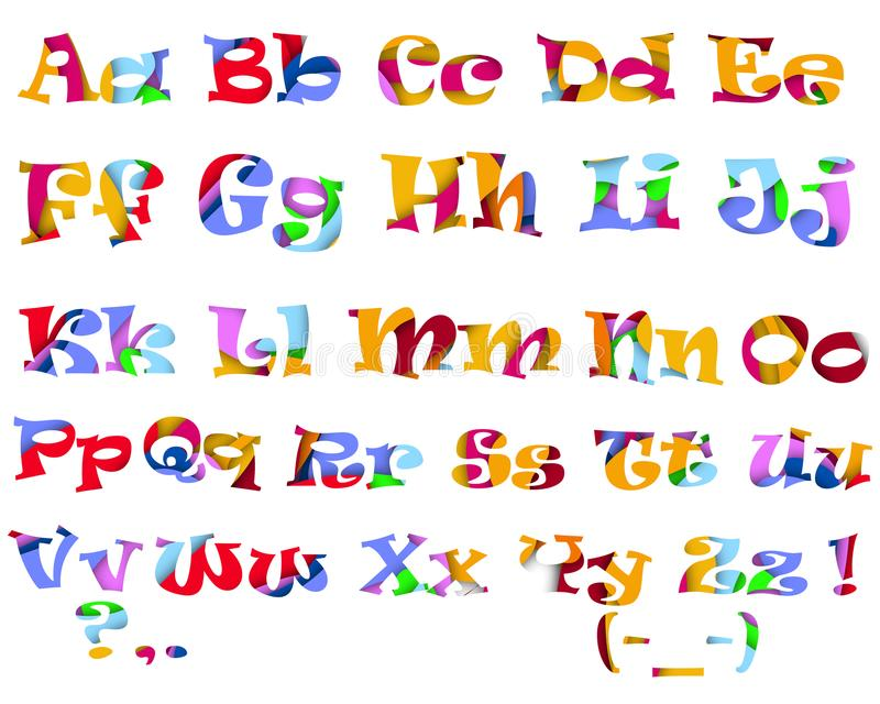 Alphabet coloré multi lumineux illustration de vecteur