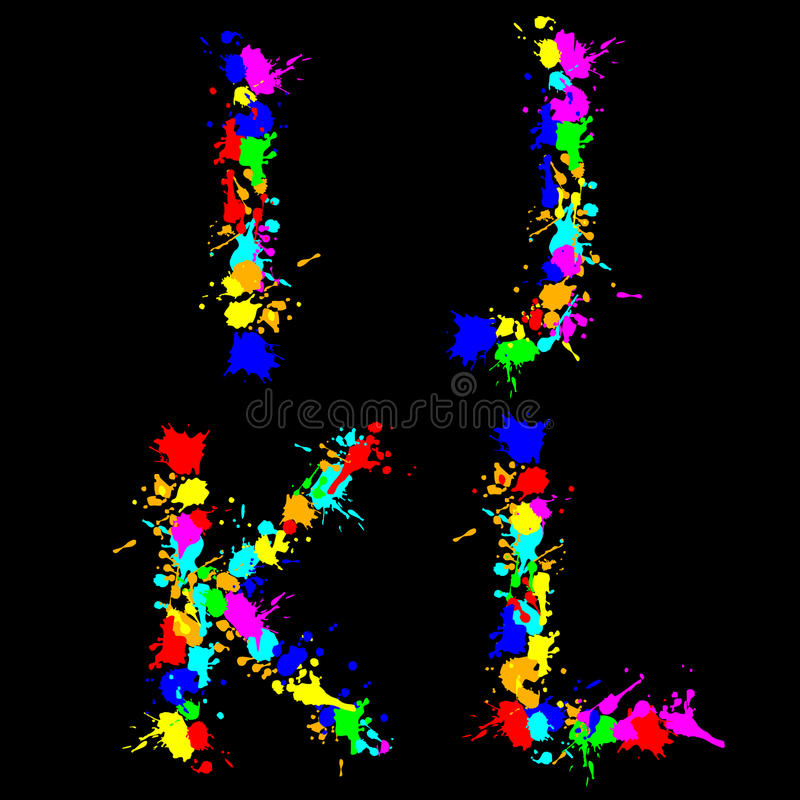 Alphabet color drop IJKL vector illustration