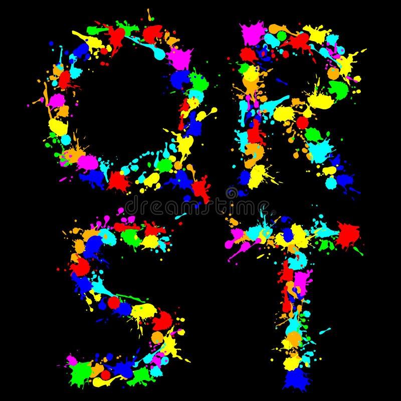 Alphabet color drop QRST vector illustration