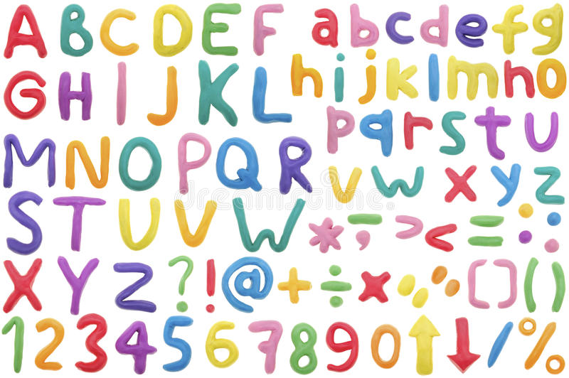Alphabet. Colorful Alphabet made from plasticine,isolated on white royalty free stock image