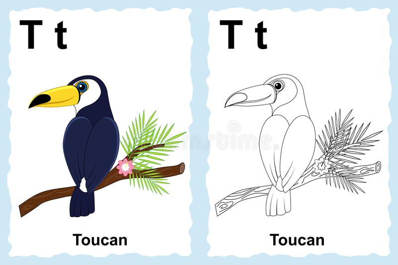 Alphabet coloring book page with outline clip art to color. Letter T. Toucan. Vector animals. vector illustration