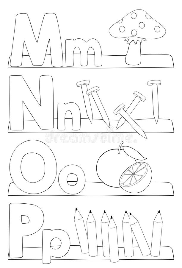 Alphabet coloring page - letters m, n, o, p. Alphabet coloring page. Letters m, n, o, p. Vector illustration - EPS10 vector illustration