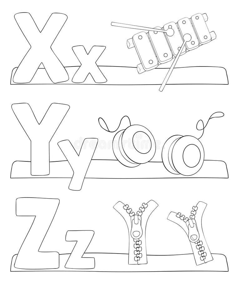 Alphabet coloring page - letters x, y, z. Alphabet coloring page. Letters x, y, z. Vector illustration - EPS10 stock illustration