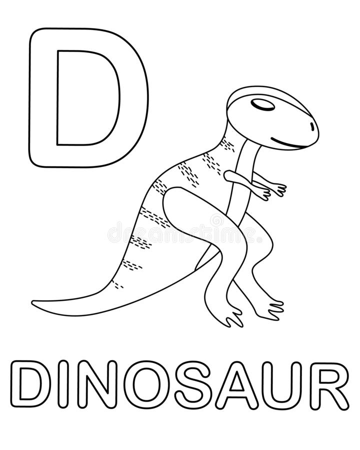 Alphabet Coloring Page With Wild Dinosaur In Doodle Style Stock Illustration Illustration Of Baby Head 156392887