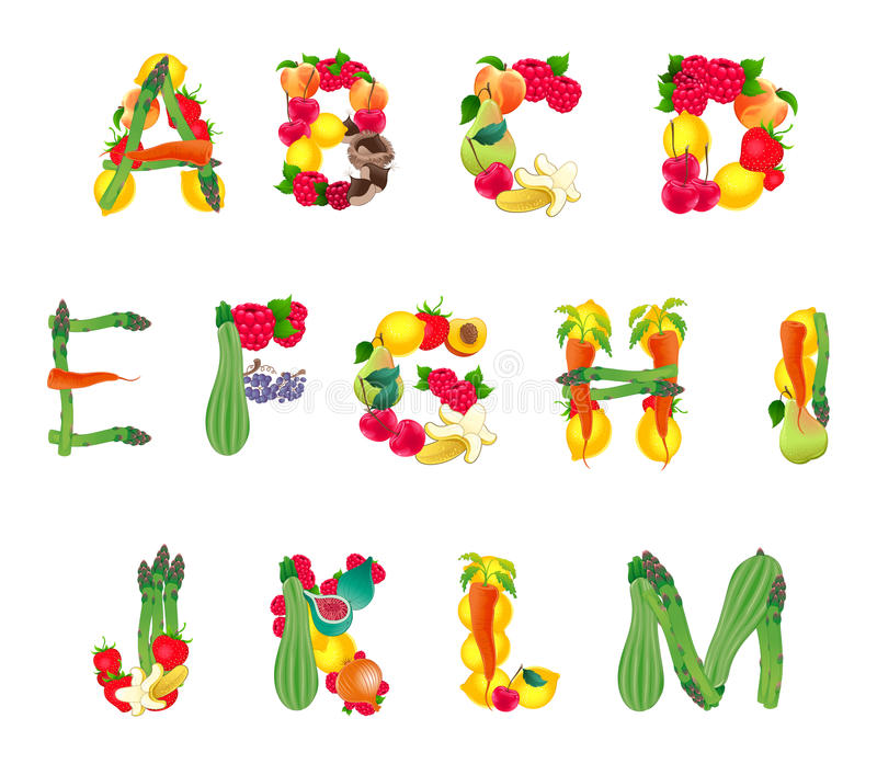 Alphabet composed by fruits and vegetables, first part stock photography