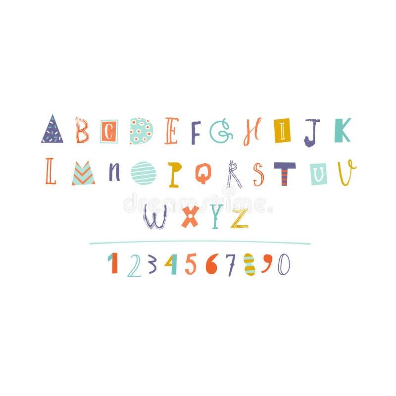 Alphabet coupé par papier tiré par la main dans le vecteur illustration stock