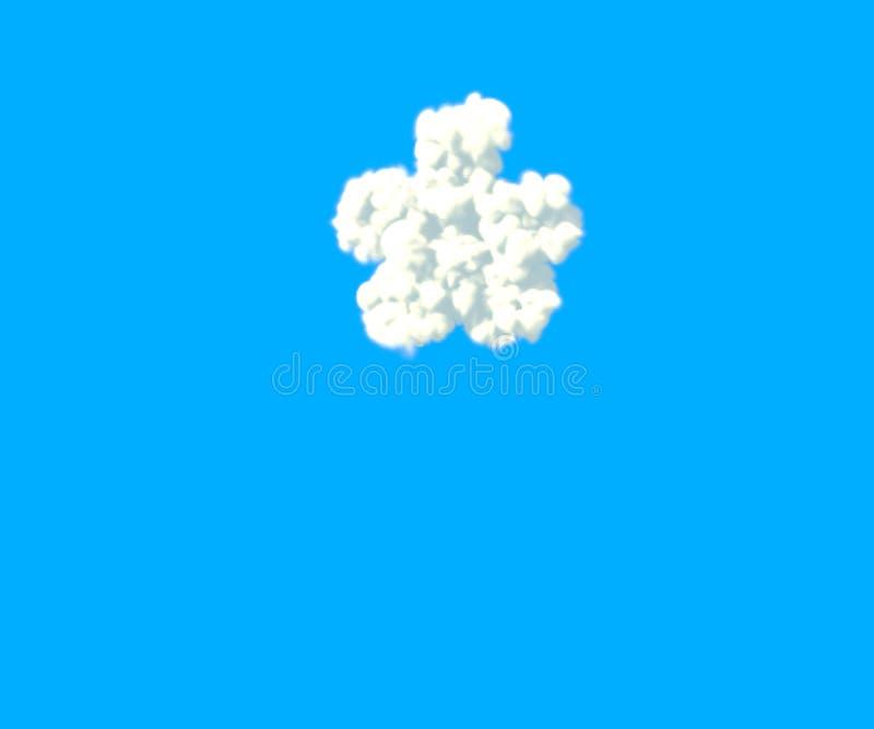 Alphabet créatif de nuages, astérisque nuageux blanc d'isolement sur le fond de ciel - illustration 3D des symboles illustration libre de droits