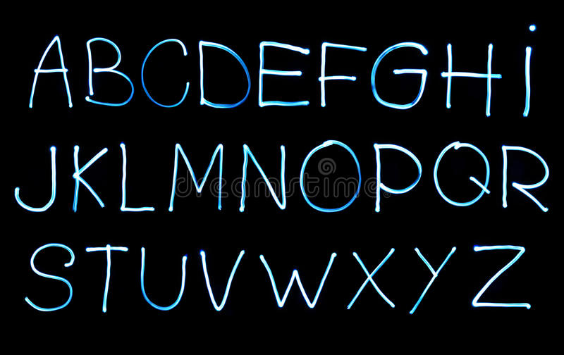 Alphabet created with light. Abstract illustration of the alphabet created with light stock image