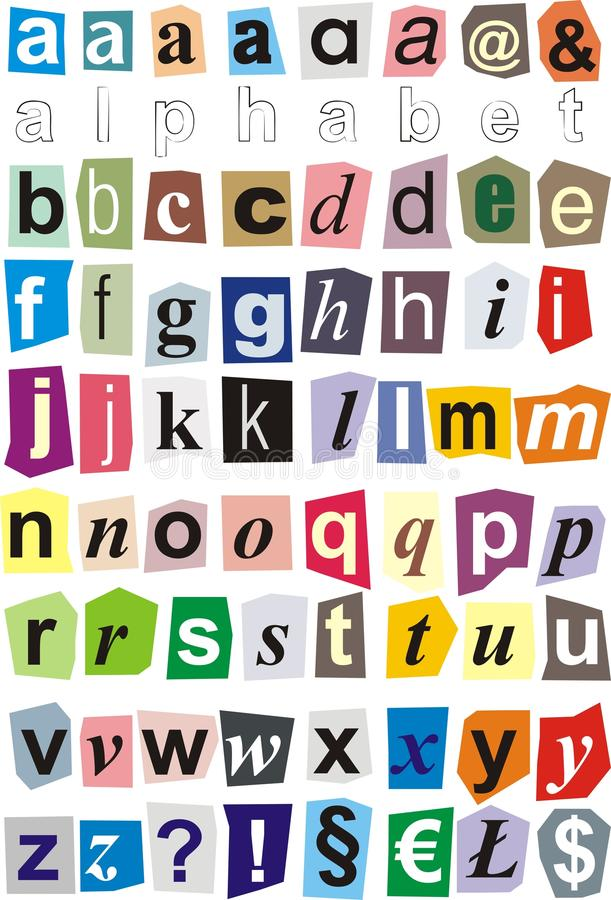 Alphabet cut out of paper - small letters vector illustration