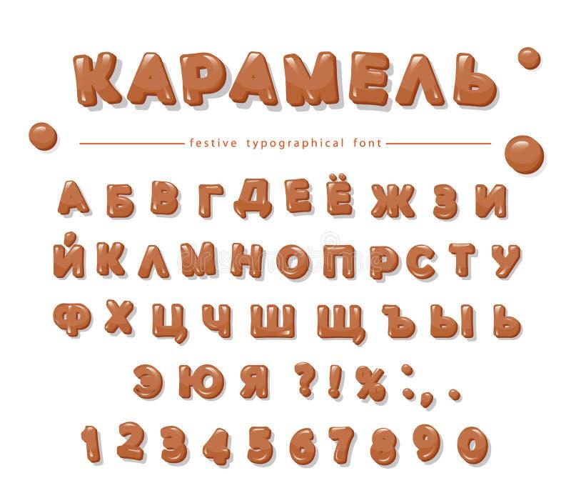 Alphabet cyrillique de caramel Lettres et nombres brillants doux illustration stock