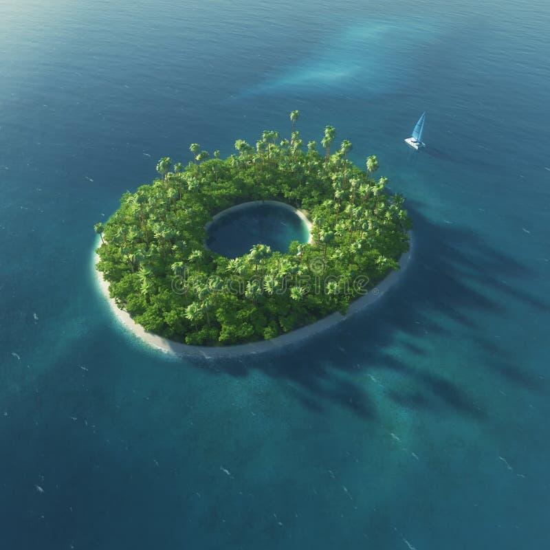 Alphabet d'île Île tropicale de paradis sous forme de lettre O photos stock