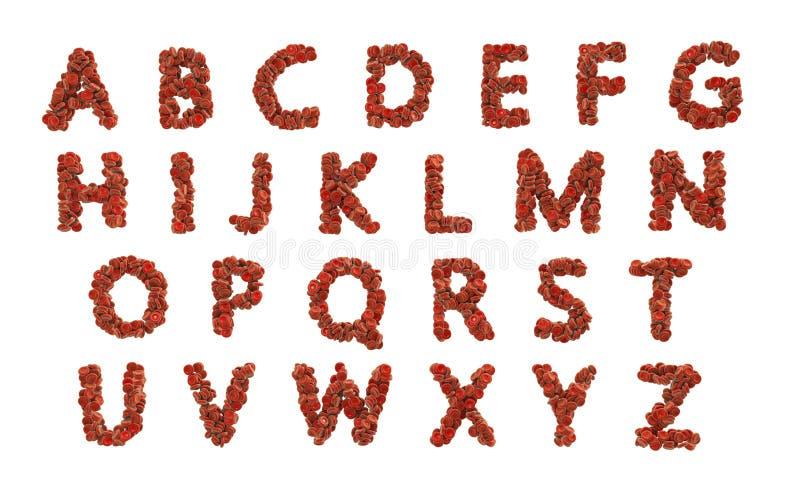 Alphabet d'ABC fait de globules rouges illustration de vecteur