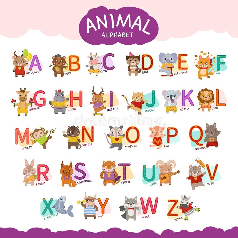 Alphabet d'animal de vecteur illustration de vecteur