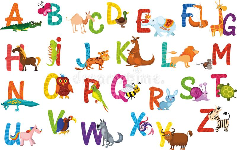 Alphabet d'animaux illustration stock