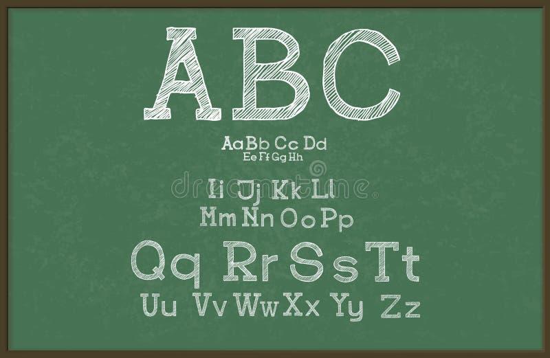 Alphabet d'aspiration de main, tableau noir/tableau, illustration libre de droits