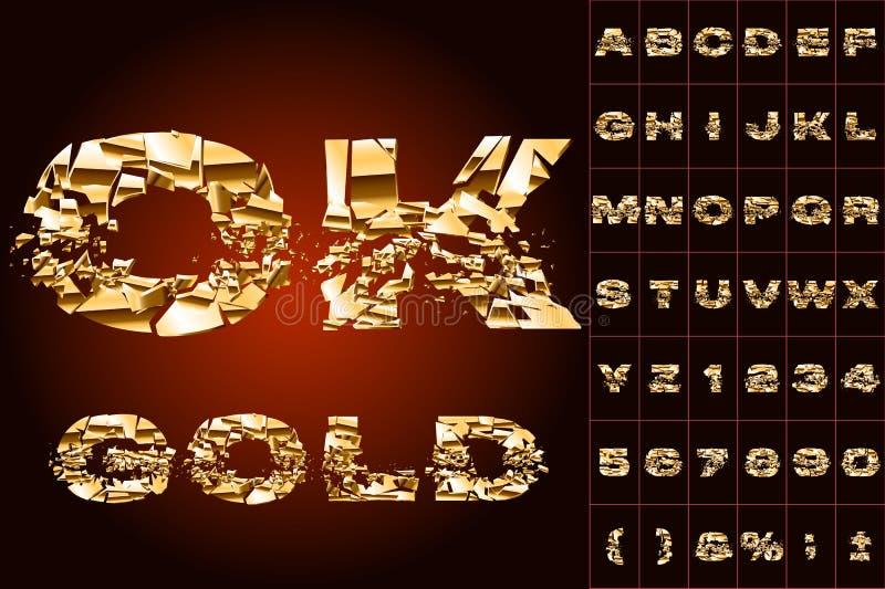 Alphabet d'or cassé illustration stock