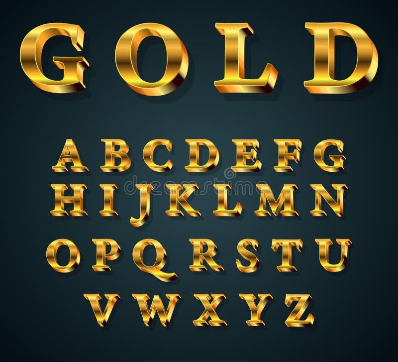 alphabet 3D d'or illustration de vecteur