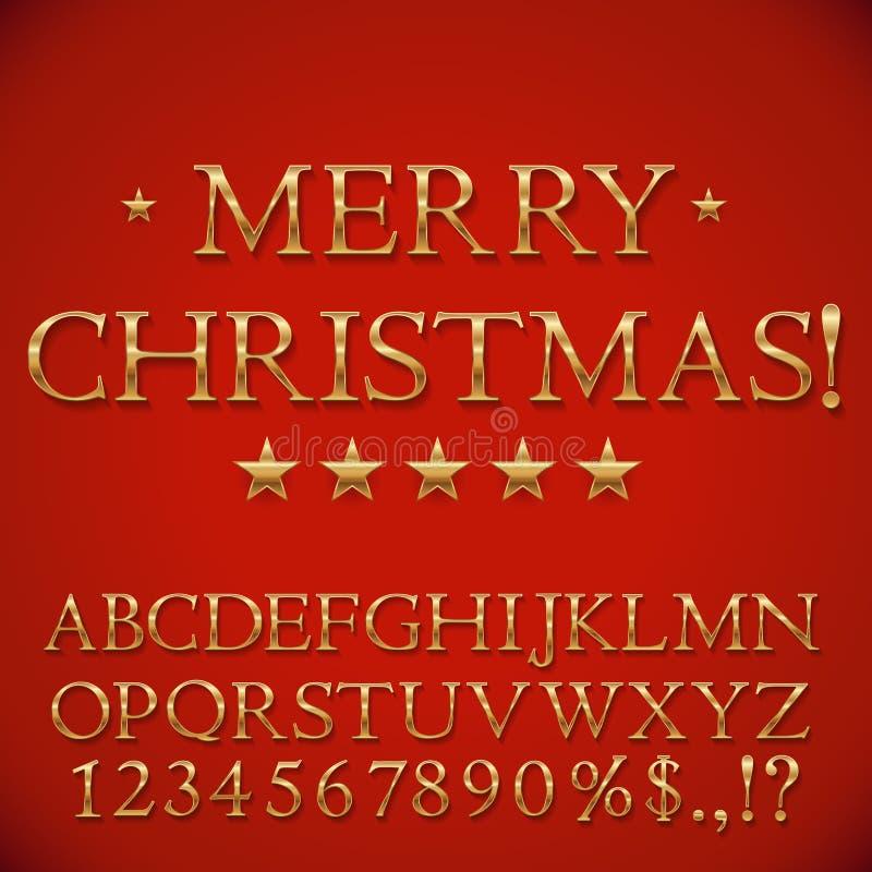 Alphabet d'or de Noël illustration libre de droits