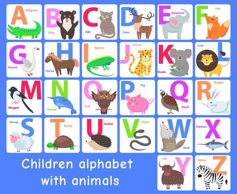 Alphabet d'enfants avec des animaux Lettres de vecteur réglées illustration de vecteur